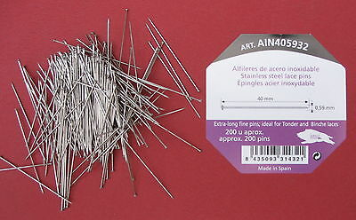 40mm x 0.59mm 200 pins STAINLESS STEEL LACE MAKING/BRIDAL/WEDDING /SATIN PINS