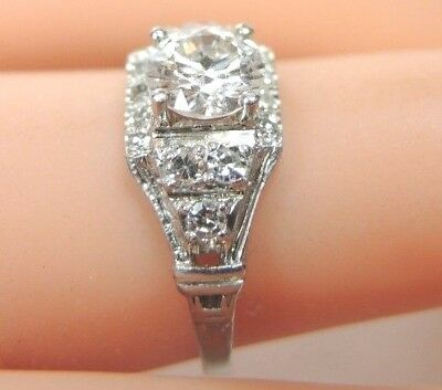 Antique Art Deco Vintage Diamond Engagement Platinum Ring Sz 5.75 UK-L EGL USA