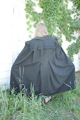 Cape French antique black large old cloak Victorian wool LONG 1870's outer wear