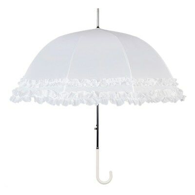 Large Double Frilled White Wedding Umbrella