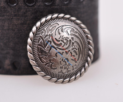 30mm 10X Retro Silver Floral Engraved Leathercraft Decoration CONCHO Screw Back