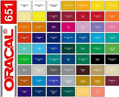"""6 rolls - 12"""" x 3 ft each - Oracal 651 Adhesive Vinyl - Choose Colors - Decal"""