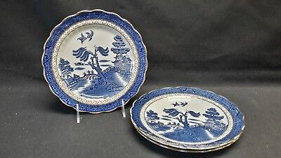 Booths Real Old Willow A8025 Set of 3 Luncheon Plates