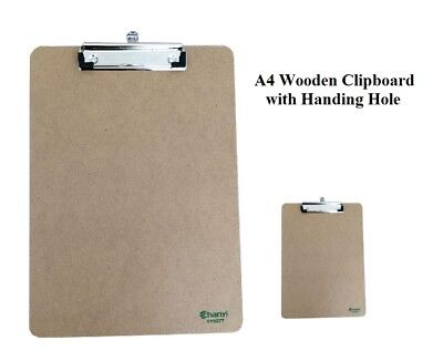A4 Wooden Clipboard with Hanging Hole Clip Board Office School Work Paper Board