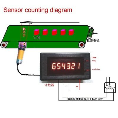 12v 24 LED Digital Display Counter Electronic Counter alarm Control output meter