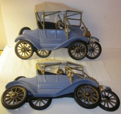 "Vintage Pair Large Cast Metal Antique Car Decor Wall Hanging -FORD-,18""x 11"""