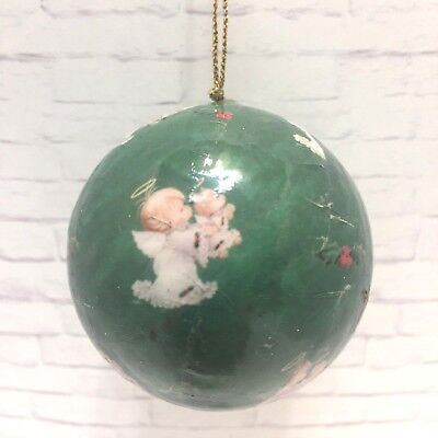 Lot of 3 Christmas Ornaments Decoupage Balls Angel Holding Teddy Bear With Box