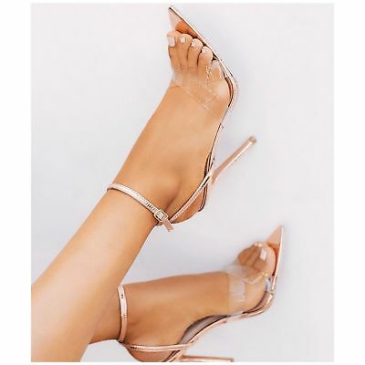 bb7c4a8f814 Cape Robbin DOUBLE CROSS Gold Clear Strap Pointy Open Toe Ankle Strap  Stiletto