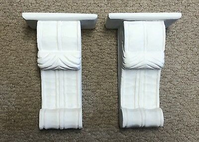 Set of 2 White Chalk Paint Wall Shelves Architectural Corbels