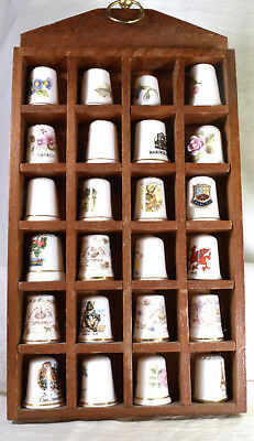 #3147 Wooden Thimble Holder with 24 Bone China Thimbles - England
