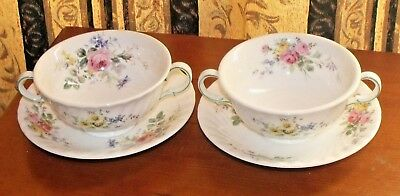 Vintage Royal Doulton Arcadia H 4802 Pair Of Twin Handled Soup Bowls And Stands