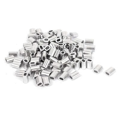 100 Pcs 1mm Steel Wire Rope Aluminum Ferrules Sleeves Silver Tone S2Y3