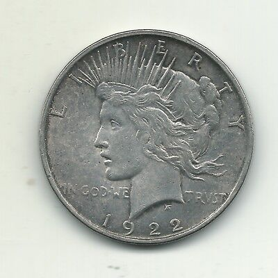 A Extra Fine Xf 1922 D Peace Silver Dollar Coin-Old Us Coin-Dec186