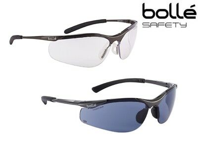 Bolle Contour Safety Spectacles Glasses, Clear or Smoked lens ANTI SCRATCH & FOG