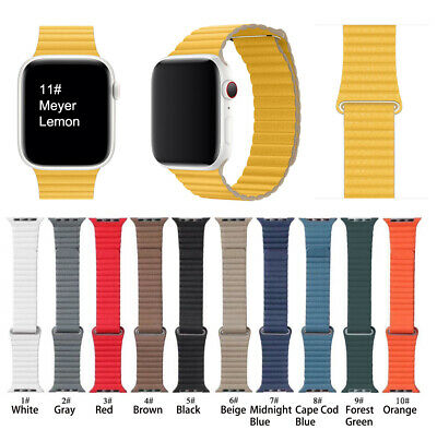 Magnetic Loop Genuine Leather Wrist Band Strap For Apple Watch 38 42 40 44mm
