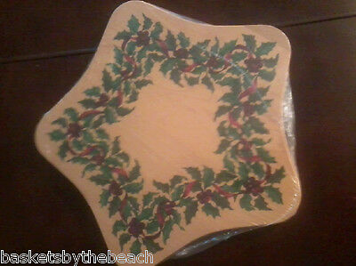 NEW Longaberger Limited Edition Christmas STAR Wood lid with Holly berry stencil