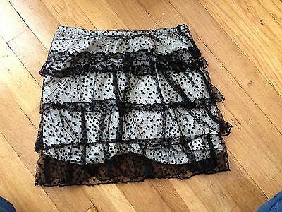 Girls Old Navy Black Polka Dot Lace Overlay Tiered Skirt Size S 6/7