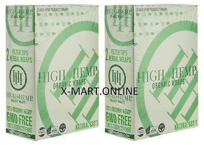 High Hemp Organic Wraps 2 Boxes 50 Pouch (100 Wraps) NON GMO ORIGINAL