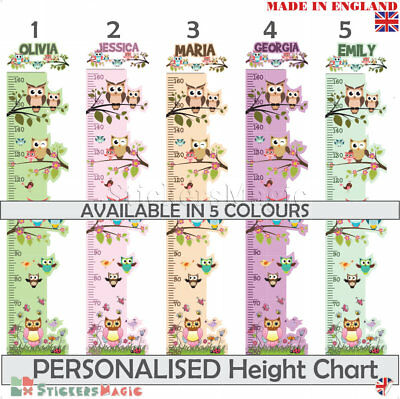 Kids Owl Wall Stickers Height Chart Personalised Name Art Decal Childrens Growth