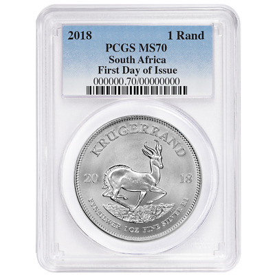 2018 South Africa Silver Krugerrand 1oz PCGS MS70 FDOI Blue Label