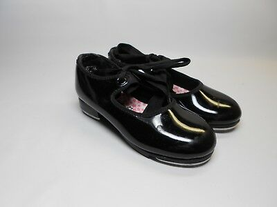 CAPEZIO 9.5M Girls Youth Black Patent Tele Tone Tap Dance Shoes Mary Jane