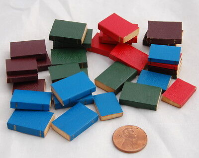 Vtg Dollhouse Miniature Leather Bound Book 33pc Lot Gold Trim Library Grn Red Br
