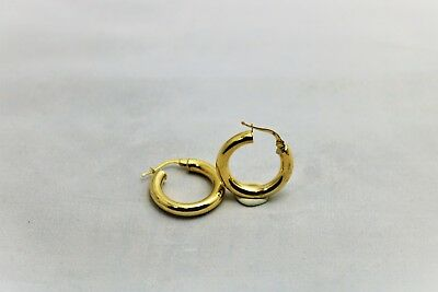 14k Solid Yellow Gold Classic Polished Hoop Earrings New 2.1 grams 21.6mm