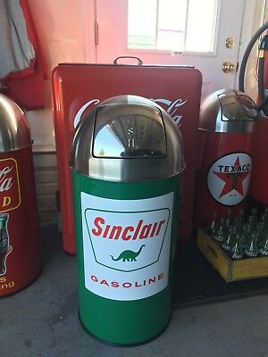 """Sinclair Gasoline Trash Can SS Top Very Nice 29"""" Tall 12 Gal."""