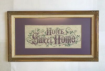 "VTG Home Sweet Home Needlepoint 1993 Purple Cross Stitch w/ Frame 23"" x 12"""