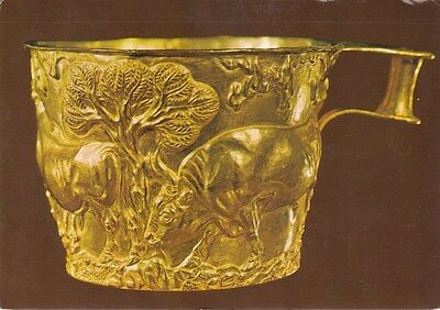 Gold Cup from the Tholos Tomb Vapheio Greece Postcard used VGC
