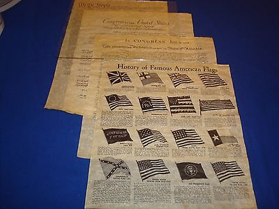 Declaration, Constitution, Bill Of Rights, Replicas,  Historical Documents, Flag