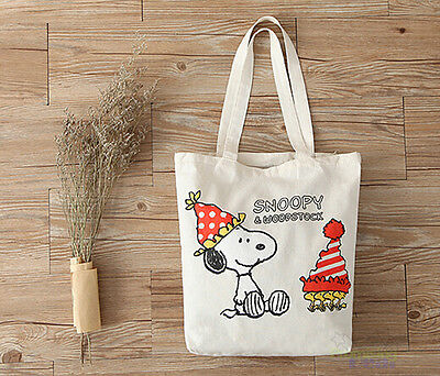 Cute Snoopy Peanuts Women Girl Fiberflax Bread Food Fruit Shopping Bag Handbag