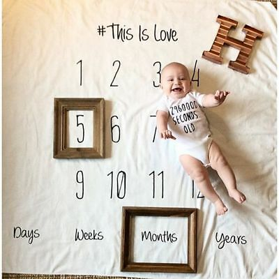 Baby Monthly Milestone Blanket - First Year Photo Prop for Newborn Baby Memory
