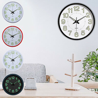 12'' Wall Clock Glow In The Dark Silent Noctilucent Quartz Indoor/Outdoor white