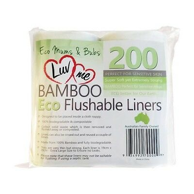 LuvMe Bamboo Flushable Cloth Nappy Liners 200 Pack