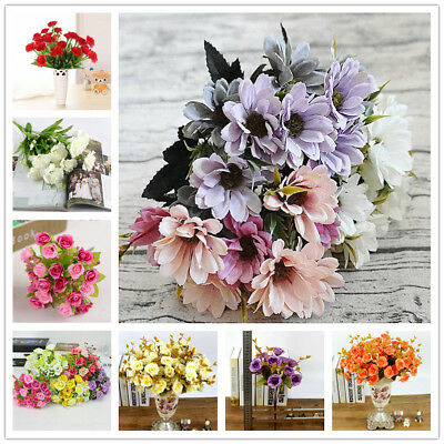 1 Bouquet Vivid Rose Artificial Flowers Silk Flower Wedding Party Home Decor