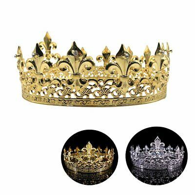 Men's Imperial Medieval Fleur De Lis King Crown Prom Party Gold/Silver Plated