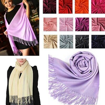 Women Cashmere Blend Scarf  Pashmina Solid Winter Tassel Shawl Wrap Scarves