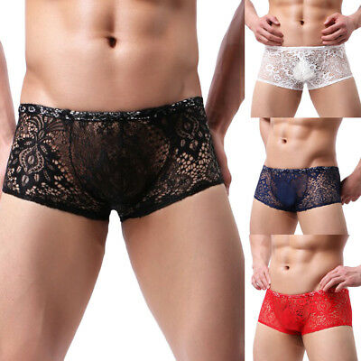 Handsome Mens Boxer Underpants Sexy Shorts Underwear Lace Underpanties Shorts