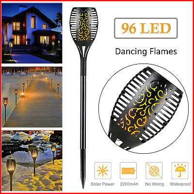 96 LED Waterproof Solar Tiki Torch Light Dancing Flickering Flame Lamp 2-10 Pack