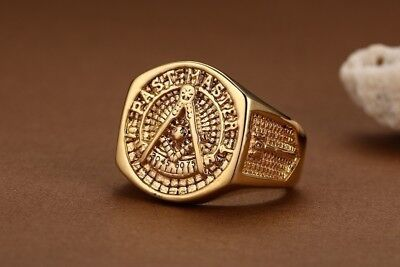 Gold Plated Titanium Steel Band Micropave CZ Men's Ring Bling Hip Hop Ring Gift