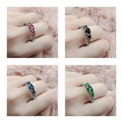 Blue Cubic Zirconia Silver Plated Three Oval Stones Ring Various Sizes Gift
