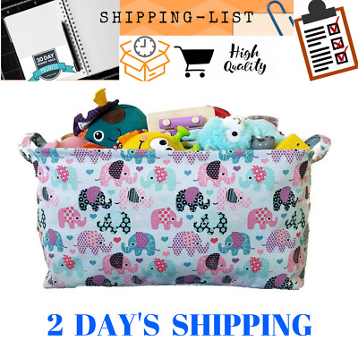 Toy Storage Basket and Canvas Box Organizer with Elephant Prints for Kids