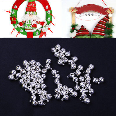 100pc Silver Plated Christmas Jingle Bells Ornament Beads Findings DIY Craft 8mm