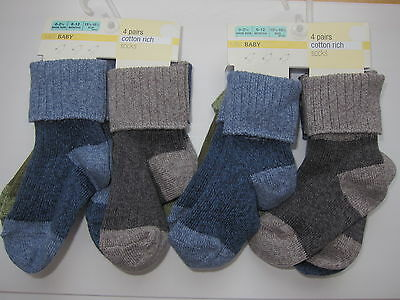 New Baby Boys Marks & Spencer Blue Green Grey Socks x8 Pairs 6-12 Months Newborn