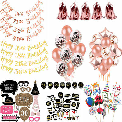 Rose Gold Happy Birthday Bunting Banner Balloons Photo Props 1st/18/21/30/40/50