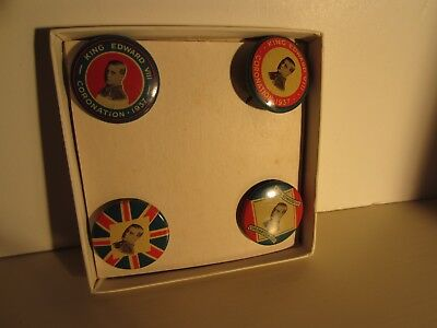 Set of four 1937 Coronation King Edward VIII British Royalty Pin  Button Badges