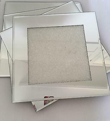 Single Sparkly Crushed Crystal Mirrored Glass Dinner Place Mat Charger 30x30cm