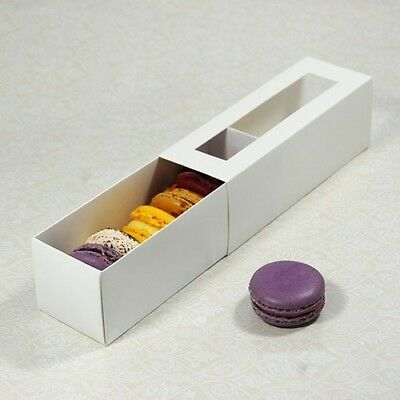 White Macaron/ Macaroon/ Chocolate Boxes Clear Window Favour Gift Boxes