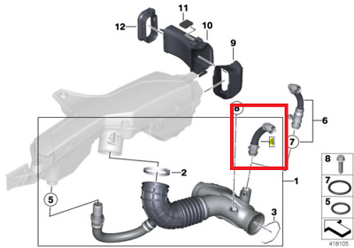 Bmw Genuine 1 2 3 4 5 7 Series X3 X4 X5 Intake Clean Air Pipe 13717823517